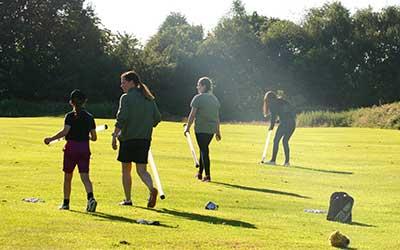 Ladies session picking up golf balls